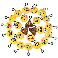 "24 Pack Mini Emoji Keychain Keyring Toys 2"" Plush Toys Birthday Party Kids Gift"