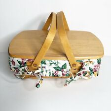 Longaberger 1999 Family Picnic Basket Double Handle Flower Lining W/ Top