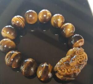 Brown Tigers Eye Stone Agate C arved Pixiu 15mm Bead Bracelet Bangle 86 Grams