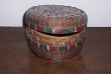 Vintage Woven, Covered Basket - Round with Lid - Natural Brown + Red & Green
