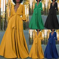 ZANZEA Women Puff Sleeve V Neck Button Down High Split Cocktail Party Prom Dress