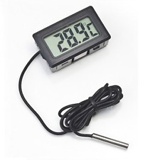 Digital Lcd Temperature Meter Home Room Black Thermometer With 1m Sensor Wire