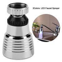 LED Light Kitchen Sink Faucet Spray Shower Head Spayer Automatic Changing Color