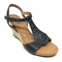 Women's Indigo by Clarks Sandals Shoe Size 10M Black Leather Slingback Wedge AA3