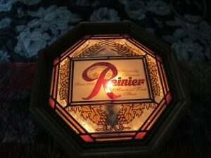Vintage Rainier Beer Lighted Sign Octagon dated 1978