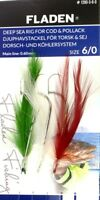 5 Packs of Fladen 3 Hook Colour Feathers Cod Lures 6/0 Boat Deep Sea Fishing Rig