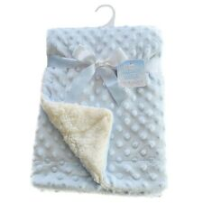 Baby Minky Dimple Bobble Pram Blanket with Satin Trim (Light Blue)  70x100CM