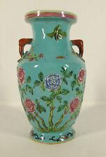 Nonya Peranakan Strait Chinese Porcelain Celadon Famille Rose Turquoise Vase yqz
