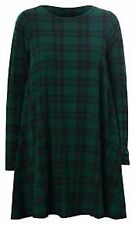 Womens  Green Tartan Print Long Sleeve Swing Skater Dress Plus Size 8-26 NEW