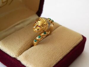 18K YELLOW& WHT GOLD RUBY/DIAMOND/TURQUOISE SIZE 7 3/4 + FLEX FIT PANTHER RING