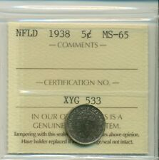 NFLD ICCS 1938 5 cents MS-65 XYG 533