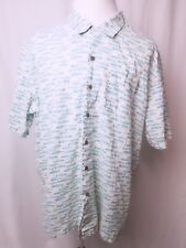 LL Bean XL Shirt Fish All Over Print Button Up Short Sleeve Multi Color Cotton