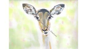 Impala Deer Stag Original Watercolour Print Illustration Wall Art Picture