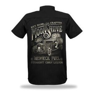 Worker Shirt Hemd Hot Rod Moonshine Redneck Herren Oldtimer Rocker Rockabilly V8