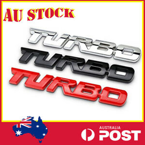 3D METAL NEW RED, BLACK, SILVER TURBO BADGE LOGO TRUNK REAR EMBLEM ADHESIVE