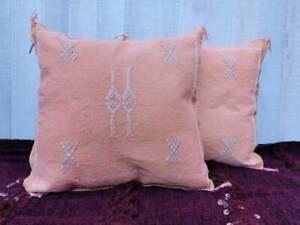 2 Moroccan Sabra Cactus Silk Pillows Handmade PillowCases - Orange Pillows
