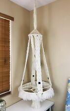 Vintage HUGE BOHO Macrame Hanging Plant Stand Table Wood Beads MISSING GLASS