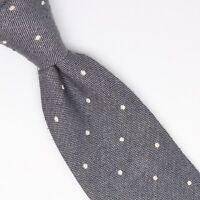 Gladson Mens Wool Silk Necktie Gray White Loose Woven Polka Dot Tie Italy Soft