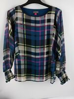 Vince Camuto Womens Blouse Multicolor stripes Long Sleeve size XS