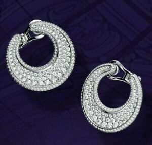 White Round CZ Front Facing Hoops 925 Sterling Silver Party cz Earrings Women