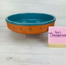 Vintage Himark TERRA COTTA Turquoise South Western Large Round Shallow Bowl Dish
