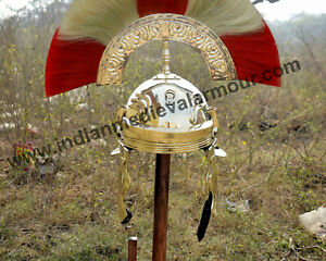 18 Guage Brass Medieval Knight Roman Centurion Helmet With Plume