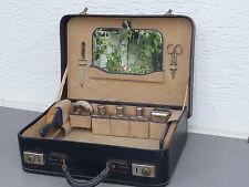 Cuero-viaje maleta/bolso del tejido-Maletín con vidrio-flacons, antiguo, dif. accesorios