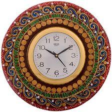 Wooden Wall Clock Handmade Antique Rajasthani Clock 30cm
