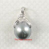 14k Solid White Gold Diamond 12mm Genuine Silvergreen Tahitian Pearl Pendant TPJ
