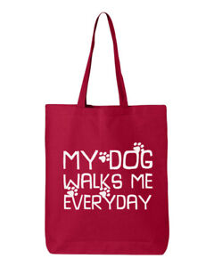 My Dog Walks Me Everyday #2 Tote Bag Shopping Grocery Shoulder Canvas Reusable