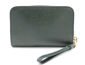 【Rank B】 Authentic Louis Vuitton Taiga Clutch Hand Bag M30184 Leather Green LV