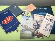 PAN AMERICAN-AIR FRANCE-DELTA AIRLINES-JAT FLYING CLIPPER LOT ROUTE MAP BROCHURE