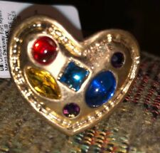 Heart Shaped Ring By Chico's -Simulated Stones. Size 6 - Nwt