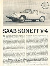 1969 SAAB Sonett II V4 Road Test Original Car Review Print Article J704