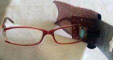 Foster Grant Fashion Reading Glasses w/Loop & Case 2.00 Women Red New FG200-10
