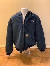 Carhartt Blue Hooded Jacket Full Zipper Coat Rib Cuffs Work Men Size Large