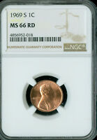 1969-S LINCOLN CENT NGC MS66 CHERRY RED  .