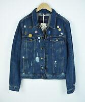 RRP€199 SCOTCH & SODA Men XL Appliques Pin Badges Ripped Denim Jacket 5429*mm