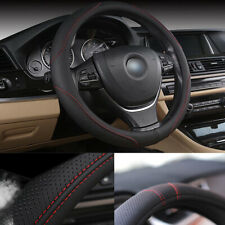 38cm/15'' PU Leather Car Steering Wheel Cover All Season Black&Red  Protector