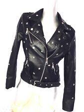 Womens Punk Emo Metal rock Star Studded fitted Faux Leather jacket belt Uk 10