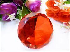 6cm 60mm Orange Glass Crystal Diamond Round Shape Cut Paperweight Gift Wedding