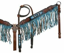 Turquoise Teal Beaded Fringe Leather Horse Bridle Headstall Breast Collar Reins