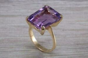 2.50Ct Emerald Cut Purple Amethyst Women's Engagement Ring 14K Yellow Gold Over