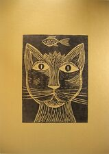 Limited Edition Fine Art Collectible Linocut - Cat Lovers OSTA Urkainian Mexican