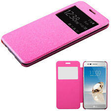 Pink Glitter Transparent See Through Wallet Slots Cover Phone Case for LG Aristo