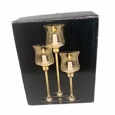 Three Brass Candlesticks Heirloom Collection with Glass Candle Holder