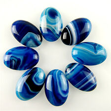 8pcs 30x20mm Oval Blue Onyx Agate Cab Cabochon for necklace jewelry making diy