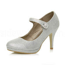 Womens Ladies High Heel Mary Jane Strap Formal Work Party Court Shoes Size UK 8 / EU 41 / US 10 Silver Mesh Glitter