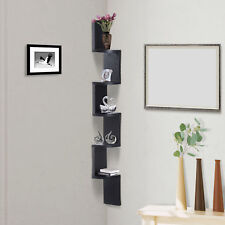 Homcom 5 Tiers Home Decor Corner Floating Display Shelf Wall Mount MDF Wood Black