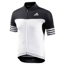 adidas Performance Mens Adistar Short Sleeve ZIPPED Cycling Cycle Jersey Top S White